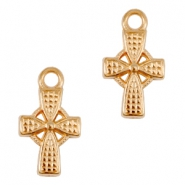 DQ metal charms / charm cross Rose gold (nickel free)