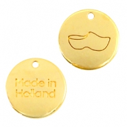 "DQ metal charms 12mm ""made in Holland"" wooden shoe Gold (nickel free)"