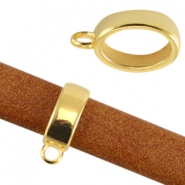 DQ metal ring oval with loop (for Divino leather / cord) Gold (nickel free)