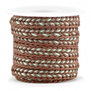 Flat braided waxed cord Brown - turquoise mint