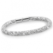Single crystal faceted bracelet Silver - silver crystal