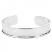 DQ metal bracelet base (for 10mm cord/leather) Silver (nickel free)