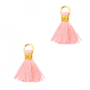 Mini tassels Ibiza style  Gold-Neon coral pink