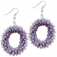 Fancy faceted beads earrings Violet greige