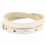8mm Double leather Cuoio bracelets for 12mm cabochon Cream ivory beige