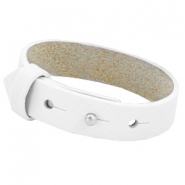 15mm Leather Cuoio bracelets for 20mm cabochon Bright white