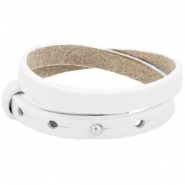 8mm Double leather Cuoio bracelets for 12mm cabochon Bright white
