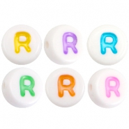 Acrylic letterbeads letter R Multicolor-White