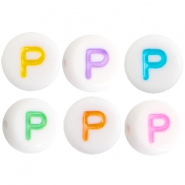 Acrylic letterbeads letter P Multicolor-White