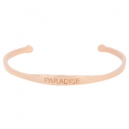 "Stainless steel bracelet with quote ""PARADISE"" Rose gold"
