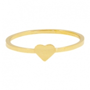 Stainless steel ring heart 18mm Gold