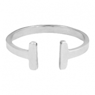 Stainless steel ring double bar 19mm Silver