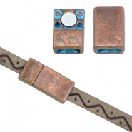 DQ findings magnetic clasp for 5/6mm flat leather Copper blue patina (nickel free)