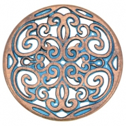 DQ ornament pendant 31mm Copper blue patina (nickel free)