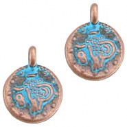 DQ coin charm Copper blue patina (nickel free)