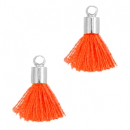 Ibiza style small tassels with end caps Silver-Neon orange