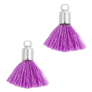 Ibiza style small tassels with end caps Silver-Fel purple