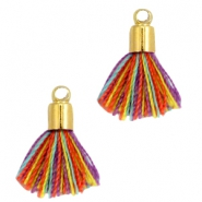Ibiza style small tassels with end caps Gold-Multicolor red yellow