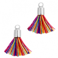 Ibiza style small tassels with end caps Silver-Multicolor red blue