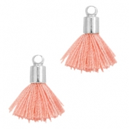 Ibiza style small tassels with end caps Silver-Rose peach
