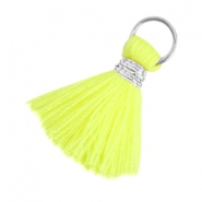 Ibiza style tassels 2cm Silver-Neon yellow