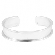 DQ metal bracelet base (for 10mm string/leather) Light silver (nickel free)