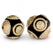 Bohemian beads 14mm black- Gold