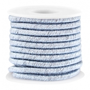 Trendy metallic string Silver light blue