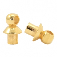 DQ metal end caps with eye for beads with a Ø4mm threading hole Gold (nickel free)