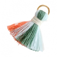 Tassels ibiza style 2cm Multicolor light blue-army green-coral pink