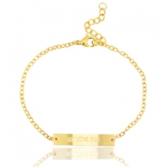 "Stainless steel bracelet with slogan ""let live rule"" Gold"