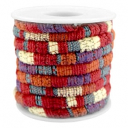 Trendy stichted cord 6x4mm Multicolor red-orange-purple