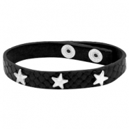 Bracelets reptile with studs silver star Black