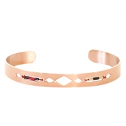 Open stainless steel bracelet with Miyuki beads Rose gold-Red