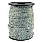 Round trendy 4 mm paracord Turmaline green grey-beige