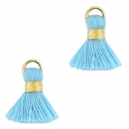 Ibiza style tassels 1.5mm Gold-light blue