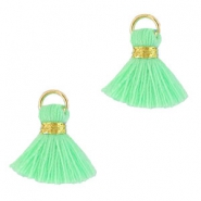 Ibiza style tassels 1.5mm Gold-light green