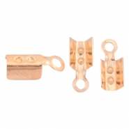 DQ metal findings fold over cord ends 2mm Rose gold (nickel free)