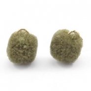 Golden pompom charm with eye 15mm Olive green