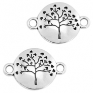 DQ metal charms tree of life connector 23x15mm Antique silver (nickel free)