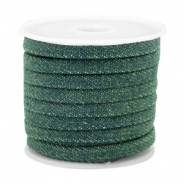 Trendy flat denim cord 5mm Dark emerald green