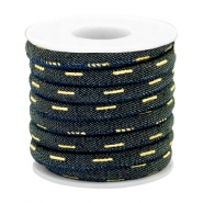 Trendy stitched denim cord 6x4mm Indigo night blue-gold