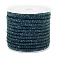 Trendy stitched denim cord 4x3mm Dark royal blue
