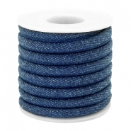 Trendy stitched denim cord 6x4mm Midnight navy blue