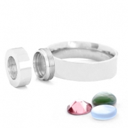 Stainless steel rings for 7mm Cabochon / Swarovski SS34  Silver