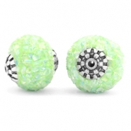 Bohemian beads 14mm Light green-silver