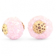 Bohemian beads 14mm Light pink rainbow-gold