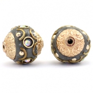 Bohemian beads 14mm Dark grey-crystal AB-gold