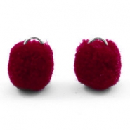 Silver pompom charms with eye 15mm Port red