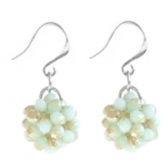Trendy earrings made of fancy faceted beads Velvet mint green opaque-half gold coating